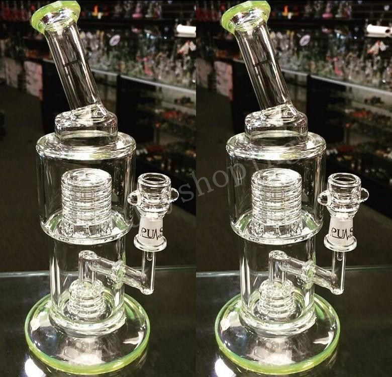 Heady Green Beaker Bong Bent Neck Water Pipes with Stereo Matrix Perc Classic Bubbler Recycler Oil Rigs Cheap Hookah Spedizione gratuita