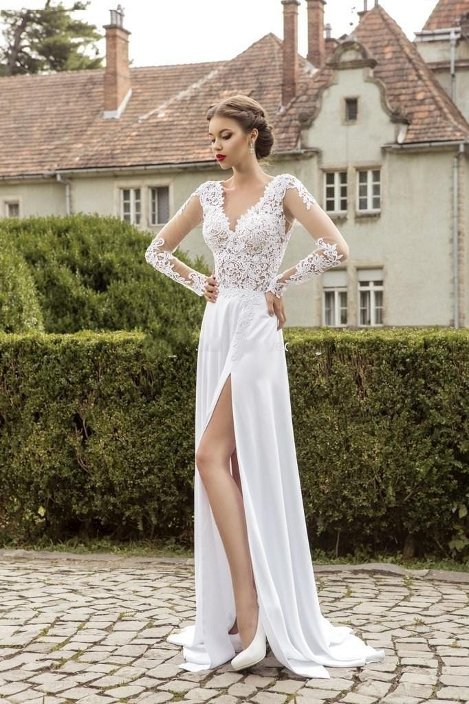 Beach Lace Wedding Dresses with Long Sleeve V Neck Capped Sleeve Side Splite A Line Sweep Train Vintage Bridal Gowns in spring 2016