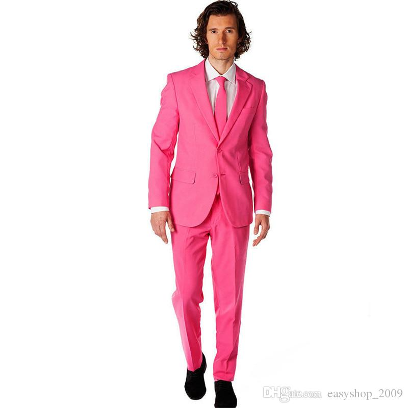 Groomsmen Notch Lapel Groom Tuxedos Hot Pink Men Suits Wedding Best Man Suits 2 sets (coat + pants) made to order