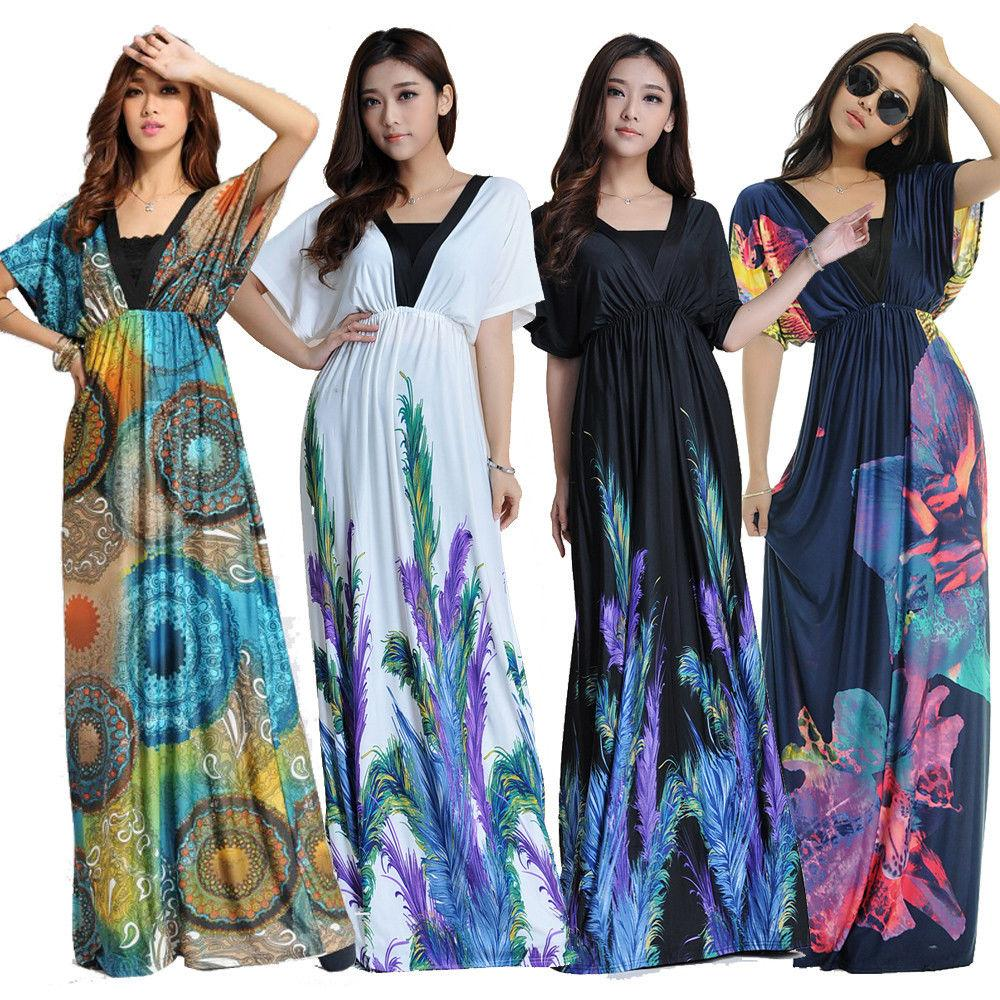 Women Plus Size Floral Maxi Bohemian Beach Summer Long Dress M 6xl