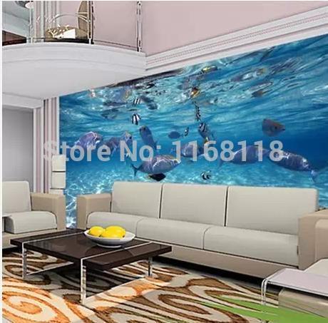 3d Stereoscopic Large Mural Wallpaper Underwater World Of Marine