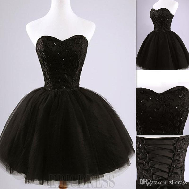 Designer Black Real Photo Ball Gown Prom Dresses Sweetheart Lace And ...