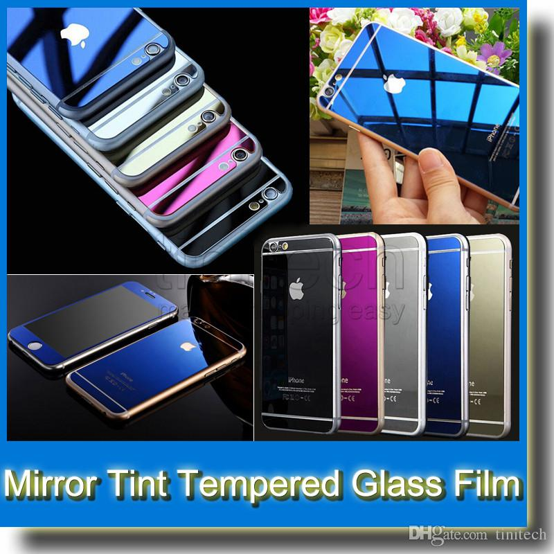 b34c5ade1e2 Mirror Tint Screen Protector Tempered Glass Color Mirror Real Tempered Glass  Film Screen Protector For IPhone 6 Plus 5 5S Front+Back Best Tempered Glass  ...