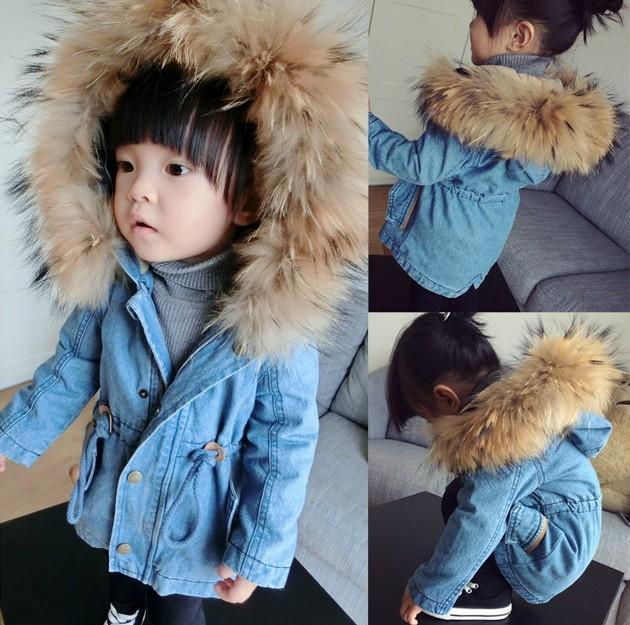 New Arrival Children Coats Raccoon Fur Washing Water Denim Add ...