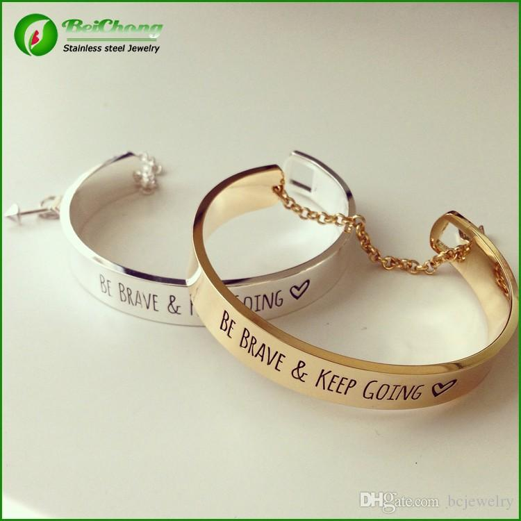 BC Be brave and keep going message bracelet engraved cuff fashion bracelet BC-005
