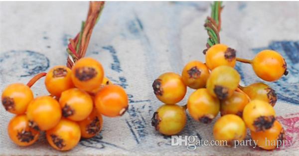 Kız DIY Manuel Headdress Noel Simülasyon Buzlu Tek Küçük Meyveleri Meyve Vur Fotoğraf Sahne Yaprak Sahte Çiçek Buket Ev Wedd