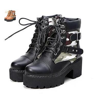 New Women Combat Boots Camouflage Thick Sole Platform