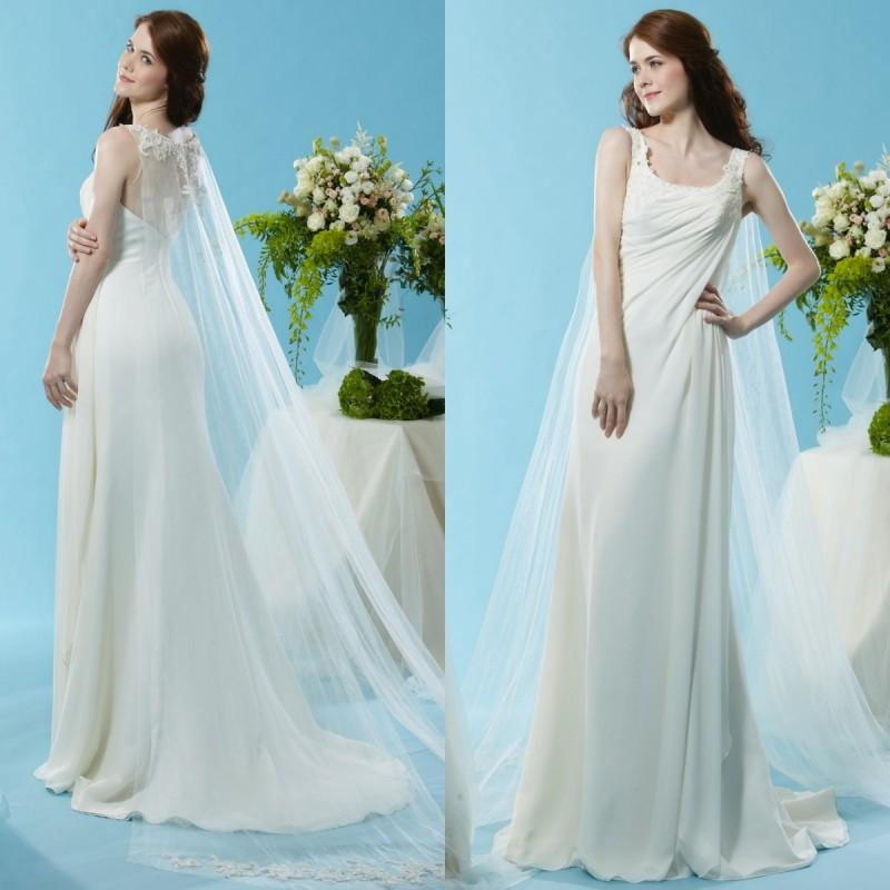 2015 Spring Greek Wedding Dresses Beach Sheath Scoop Sleeveless Lace Appliques Ruched Chiffon Bridal Gowns With Watteau Train Designer Dress