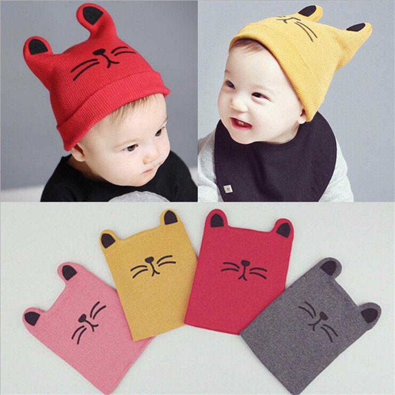 07d3db118450c 2019 Autumn Winter 2017 Baby Newborn Animal Print Cotton Hat Girl Boy Infant  Kids Little Cat Caps Lovely Knit Crochet Hats From Shuangxi10