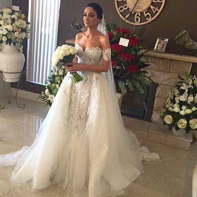 Real Photos 2016 Mermaid Wedding Dresses With Detachable Skirt Off Shoulder Lace Appliques Gorgeous Wedding Gowns Custom Made