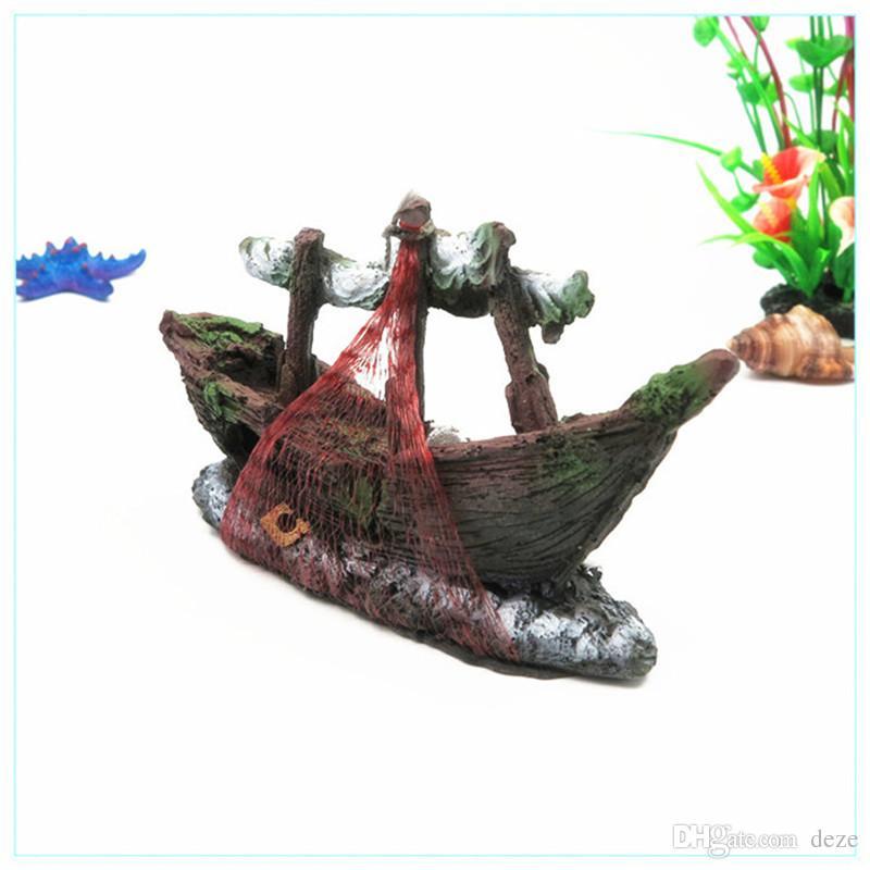 NEW 3 Модели Главной Fish Tank Аквариум Смола орнамент пейзаж Wreck потопленный корабль Кораблевождение разрушитель аквариум украшение