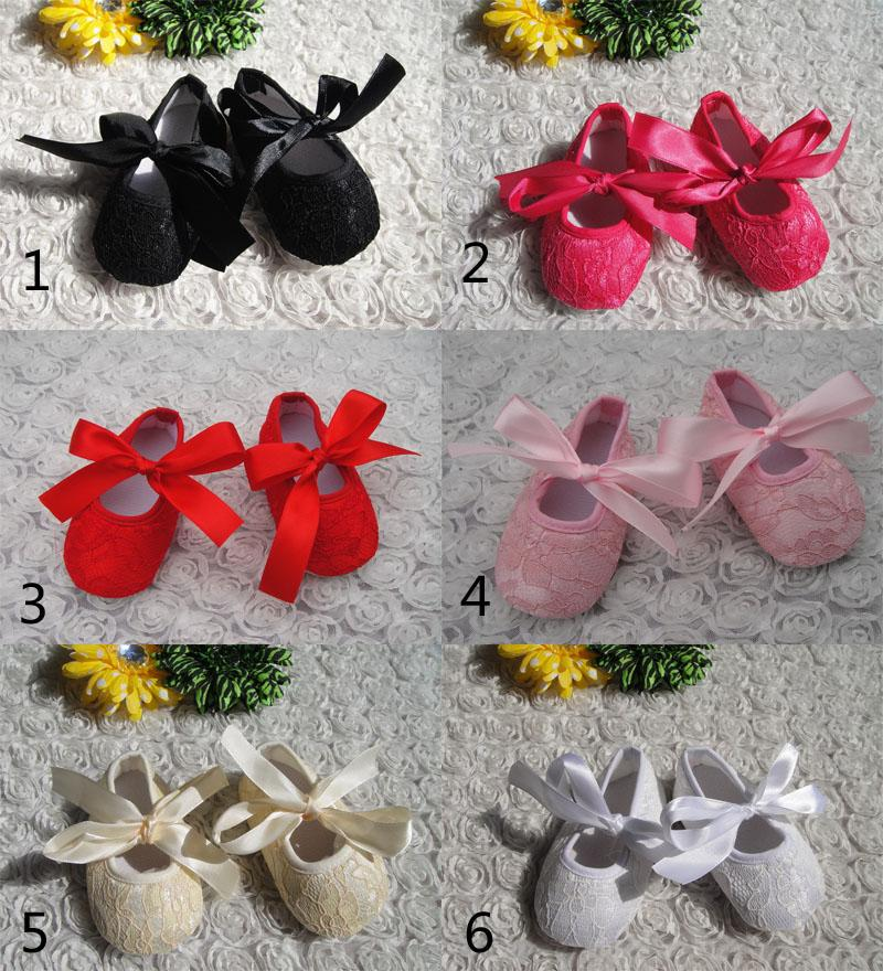 6 Color baby moccasins Lace bowknot First Walker Shoes 2016 new children Soft non slip bottom flower baby shoes B001
