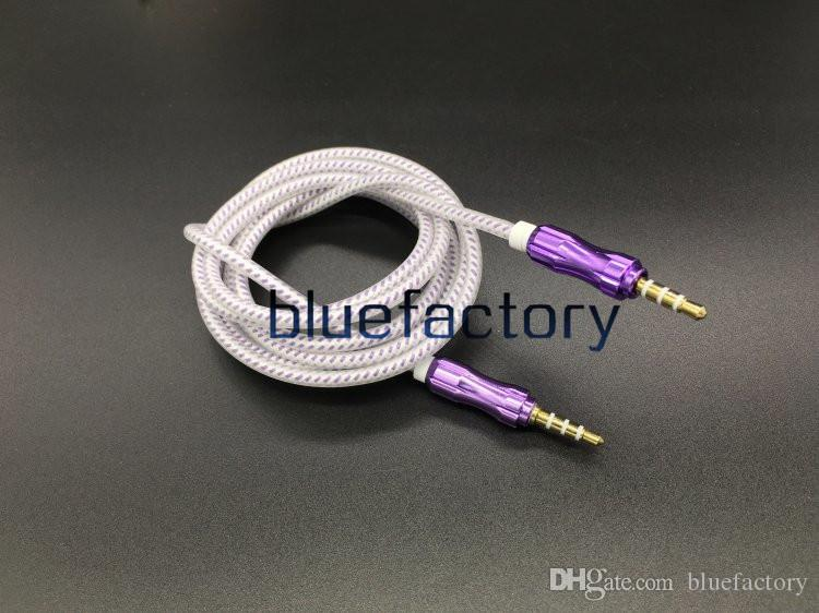1.5M Audio Cable Crytal Braided Woven 3.5mm AUX Auxiliary Extention Aluminium Alloy Cord Male to Male for iphone 6 6S Samsung S7 Speaker MP3