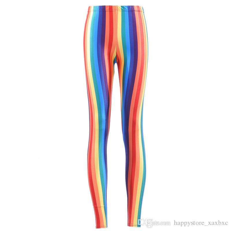 f0484c6b04d5d 2019 2017 NEW 3769 Coloured Ribbon Rainbow Stripes Prints Sexy Girl Pencil  Yoga Pants GYM Fitness Workout Polyester Women Leggings Plus Size From ...