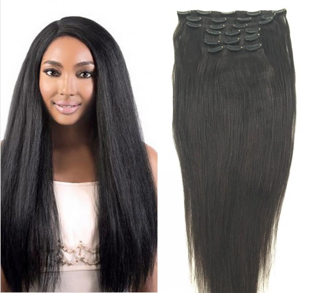 Brazilian Virgin Hair Yaki Straight Clip In Hair Extensions 120g