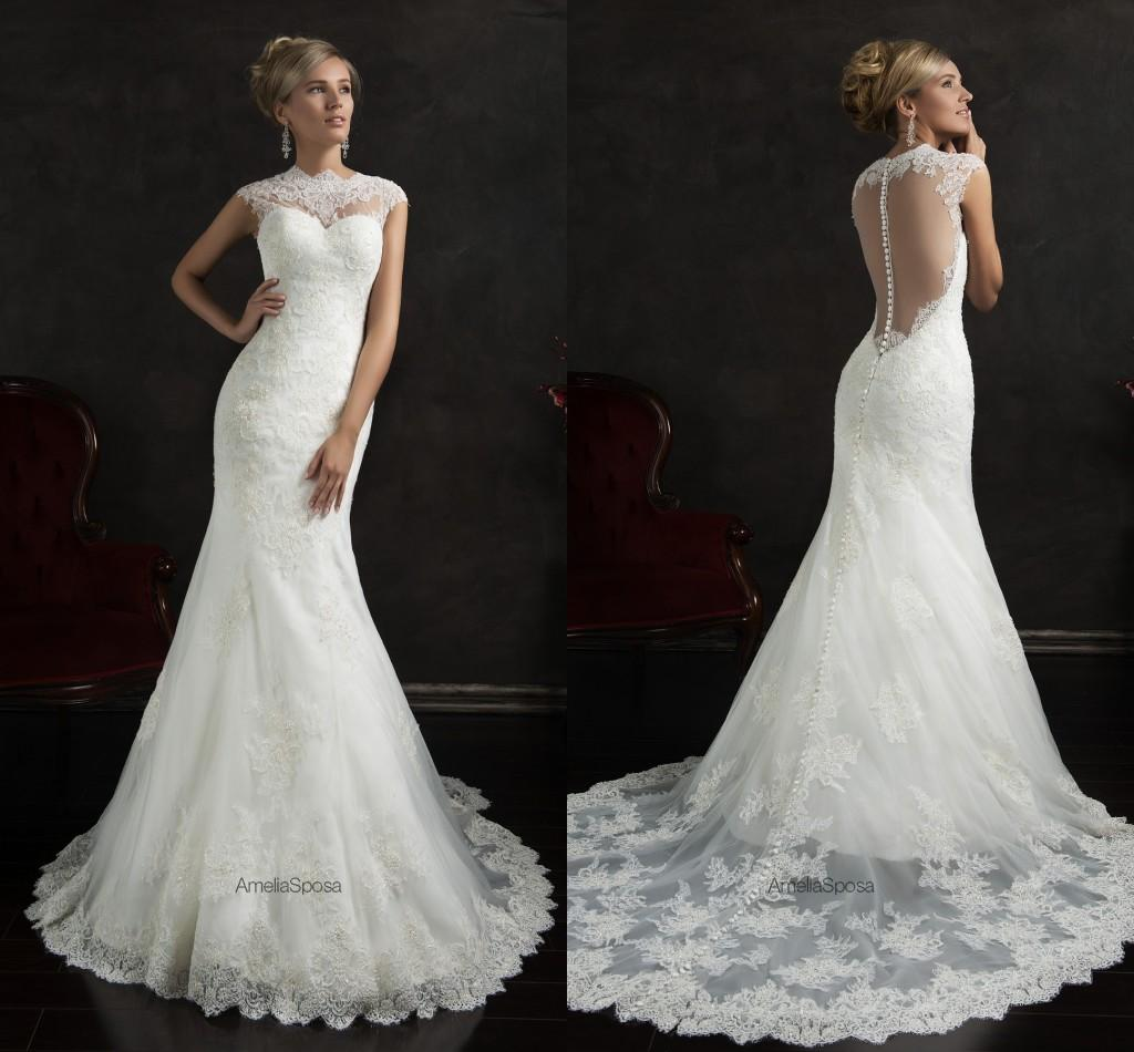Crew Portrait Sleeve Wedding Dresses Backless Hollow Lace