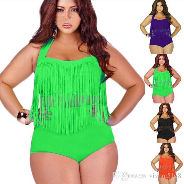 efac9798b42e2 2019 Retail Plus Size Swimwear For Women Fringe Tassels Bikini High Waist  Swimsuit Sexy Women Bathing Suit Padded Boho Swimsuit From Vivian5168