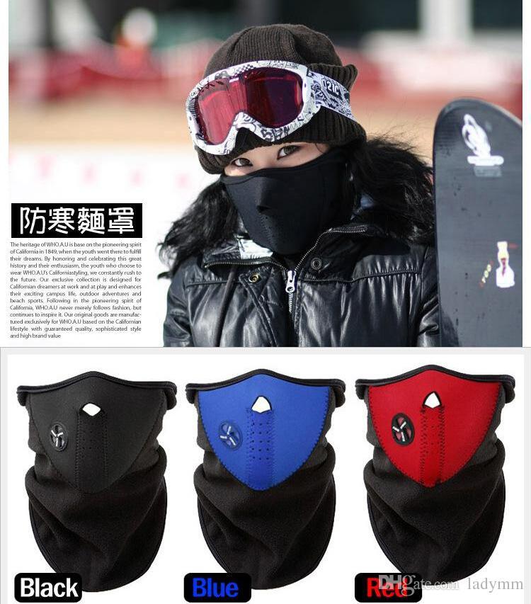 Envío gratis 3 unids neopreno cuello caliente media mascarilla velo de invierno para bicicleta motocicleta esquí snowboard máscara de la bicicleta