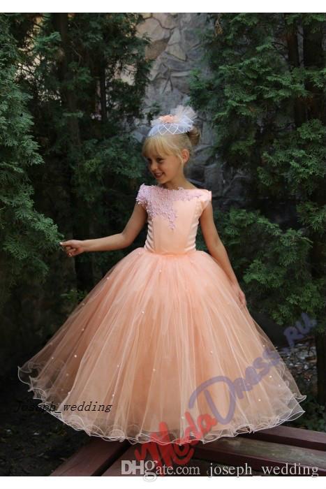 2020 бального платье Puffy втулки крышки Прекрасных Дети Пром платье персикового цвет цветок девушка Pageant платье Платье