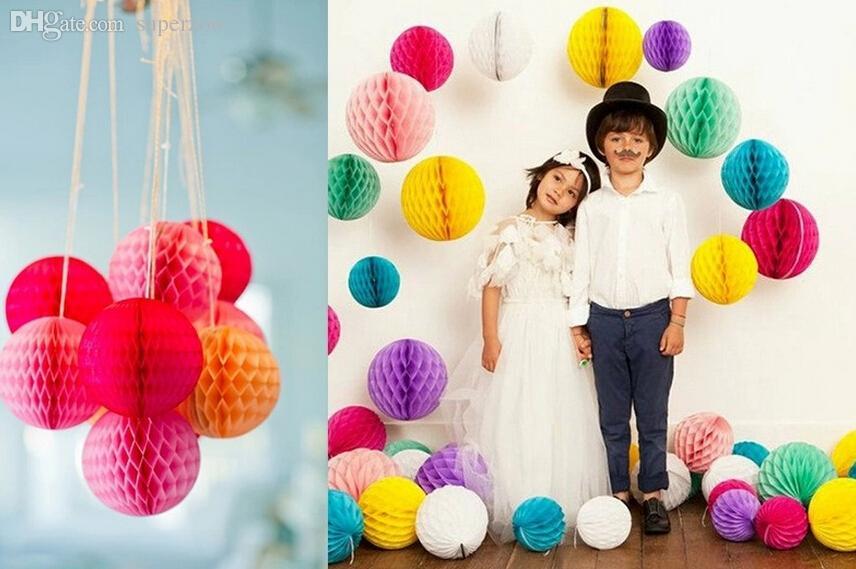 "6""/8"" 15/20cm Paper Honeycomb Flower Ball Party Stage Background Wedding Decoration Birthday Holiday Festive Christmas Lanterns"
