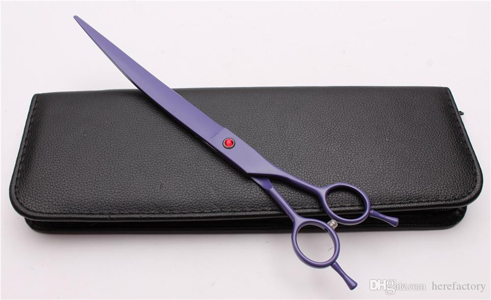 "9"" 24cm Japan 440C Customized Logo Professional Pets Hairdressing Shears Grooming Shears UP Curved Cutting Scissors Salon Style Tools C4004"