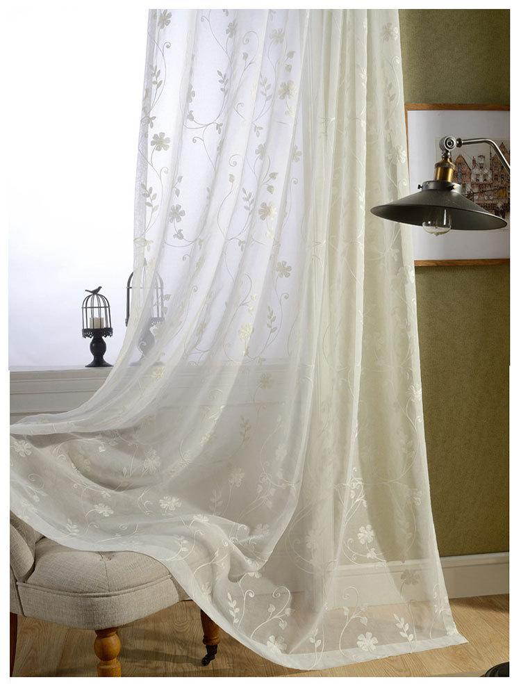 Ready Made White Cotton Embroidered Sheer Curtains For Living Room ...