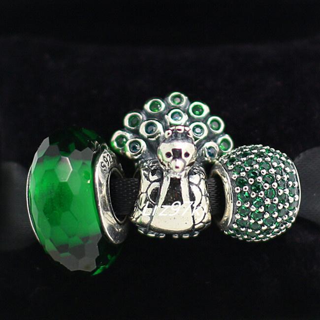أصيلة 925 الفضة الاسترليني سحر ومجموعة زجاج مورانو الخرزة يناسب الأوروبي سحر باندورا المجوهرات أساور الطاووس الأخضر مجموعات