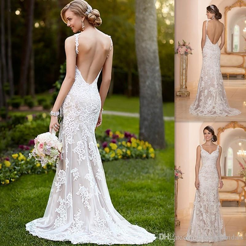 Backless lace mermaid style wedding dress