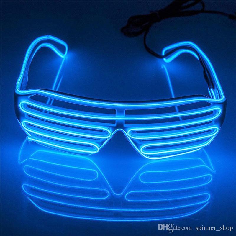 Simple EL glasses El Wire Fashion Neon LED Light Up Shutter Shaped Glow Sun Glasses Rave Costume Party DJ Bright SunGlasses