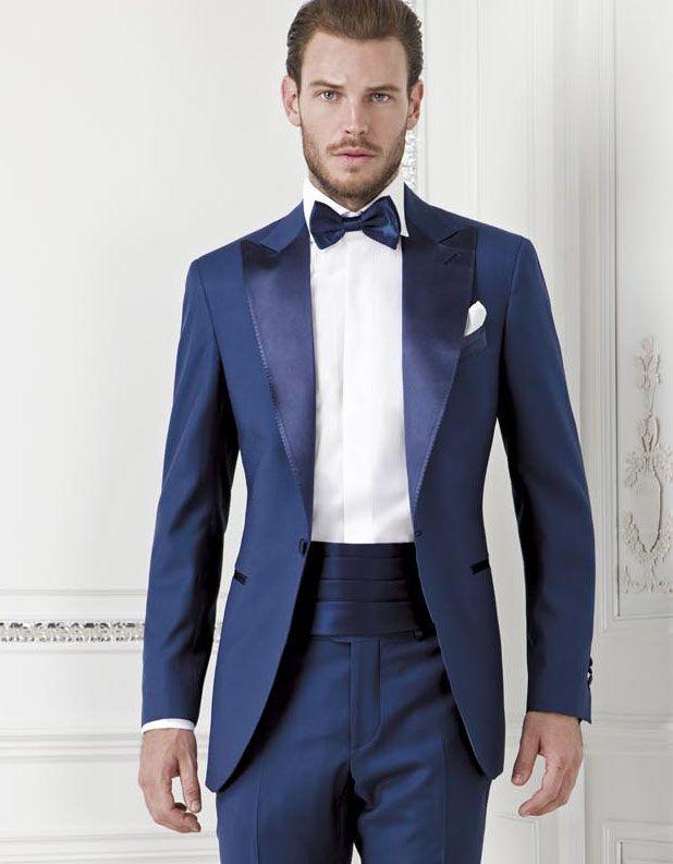 Dark Blue Groom Tuexdos Custom Made Slim Fit Groomsmen Men Wedding ...