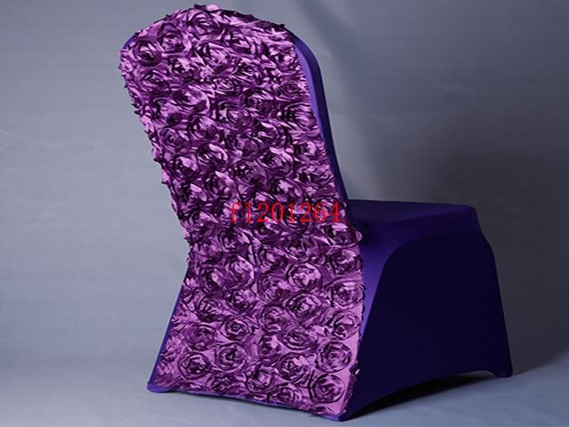 New Arrival Universal Rose Satin Spandex Chair Cover Covers With Satin Flower In Back For Wedding Party Banquet