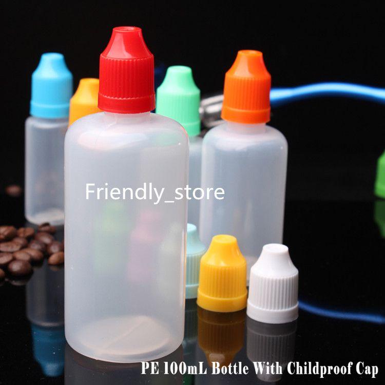 Empty PE 100ml e liquid bottles 100ml Plastic Dropper Bottles With Colorful Child proof Cap E Cigarette Oil Bottle DHL Free