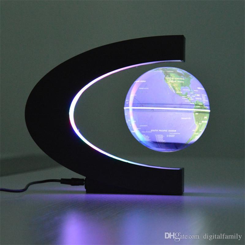 Novità C Forma LED Mappa del mondo Globo galleggiante Levitazione magnetica Leggero Antigravità Magia / Lampada Novel Compleanno Casa Dicembre Notte lampada