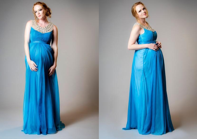حفلة موسيقية اللباس لل نساء الحوامل الأمومة مساء العباءات الأزرق الشيفون مطرز س الرقبة ألف خط كامل طول vestidos دي فيستا الرسمي