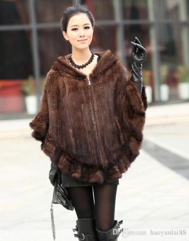 2018 Mink Fur Coat Mink Fur Coats Mink Hooded Cloak Woven Type ...