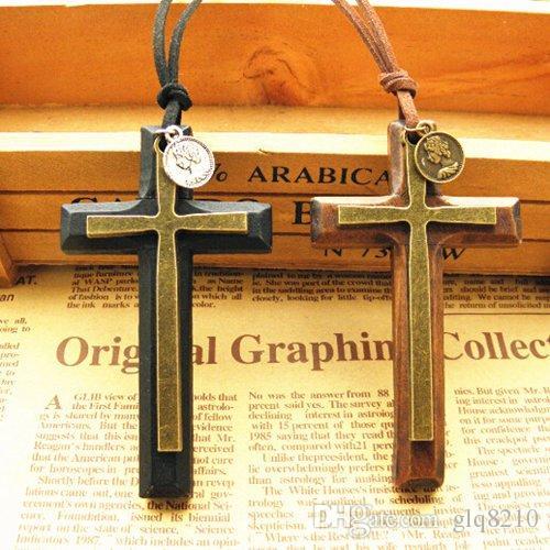 Weihnachtsgeschenke Doppel-Legierung Holz Kreuz Anhänger Halskette Vintage Pullover Kette Lederband Männer Frauen Schmuck handgemacht stilvoll