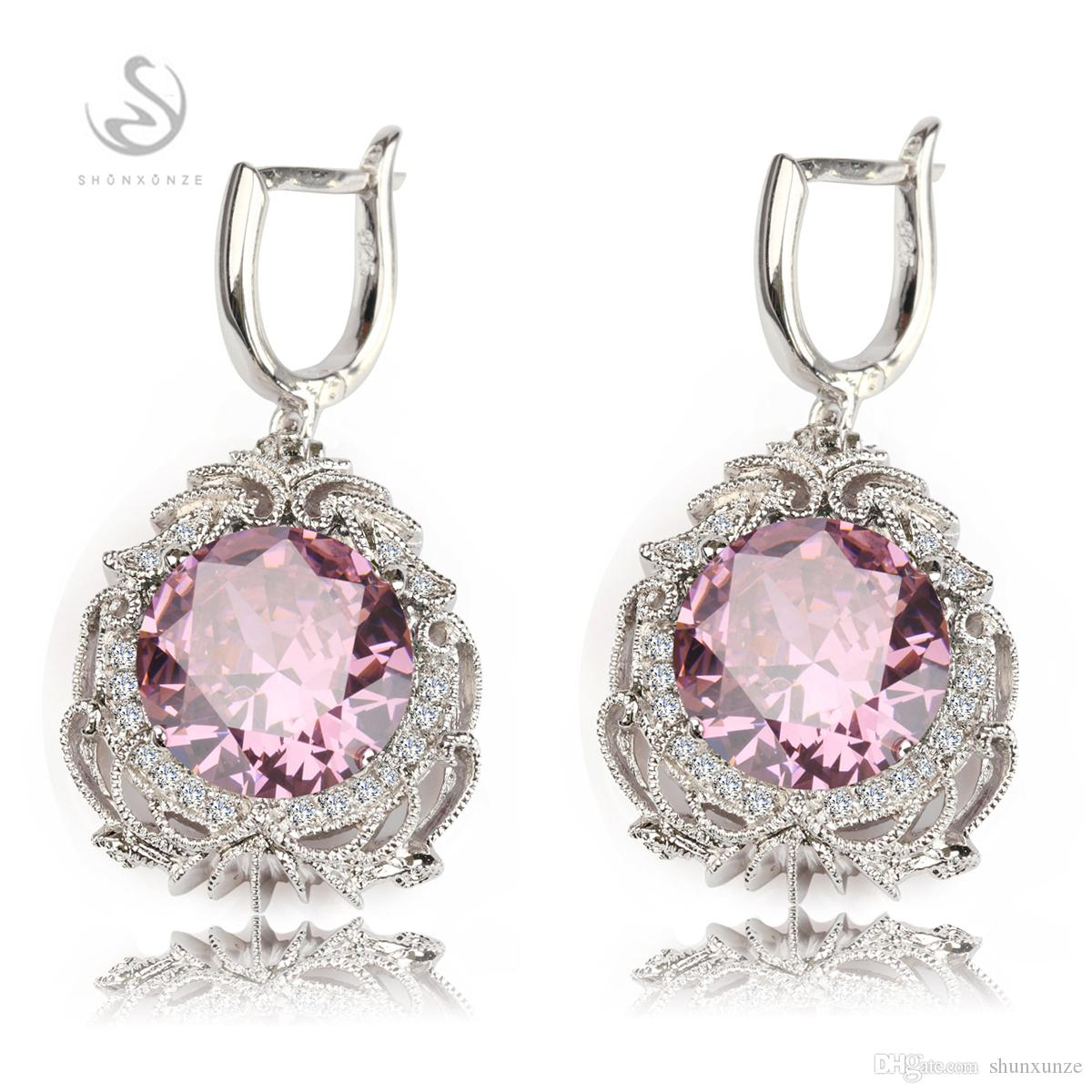 Fashion Classic Pink Cubic Zirconia Silver Plated Earrings R524 Productos de primera clase Recommend Promotion Favorite Los más vendidos