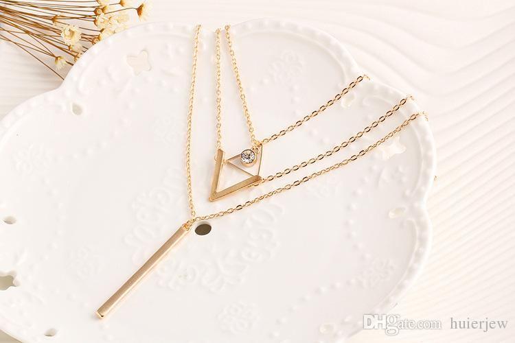 Pretty Choker Collier Necklaces Boho Pearls Diamond Chain Multilayer Necklaces For Women Men Bar Layered Tassel Metal Gold Chain Necklace