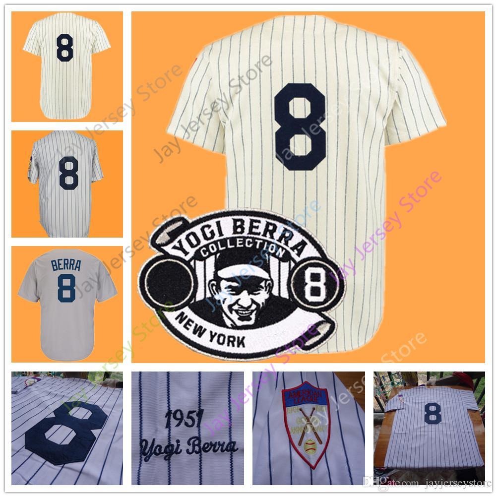 ... aliexpress 2018 yogi berra jersey 1951 grey cream white pinstripe home  away vintage from jayjerseystore 16.1 ... b5ab1254ca2