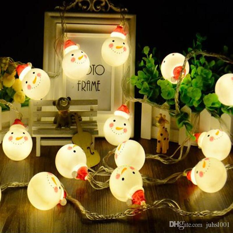 3M - 5M Lovely pupazzo a forma di pupazzo di neve LED String Light Battery Operated Fairy Lights decorazioni natalizie per l'illuminazione esterna di casa