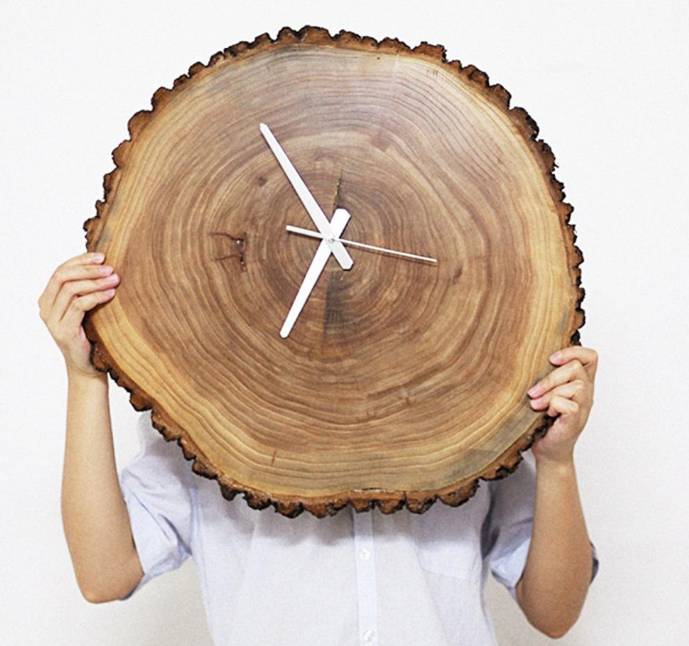 Clock 11 12 inches wall clock natural wood wall clock decor and see larger image amipublicfo Image collections