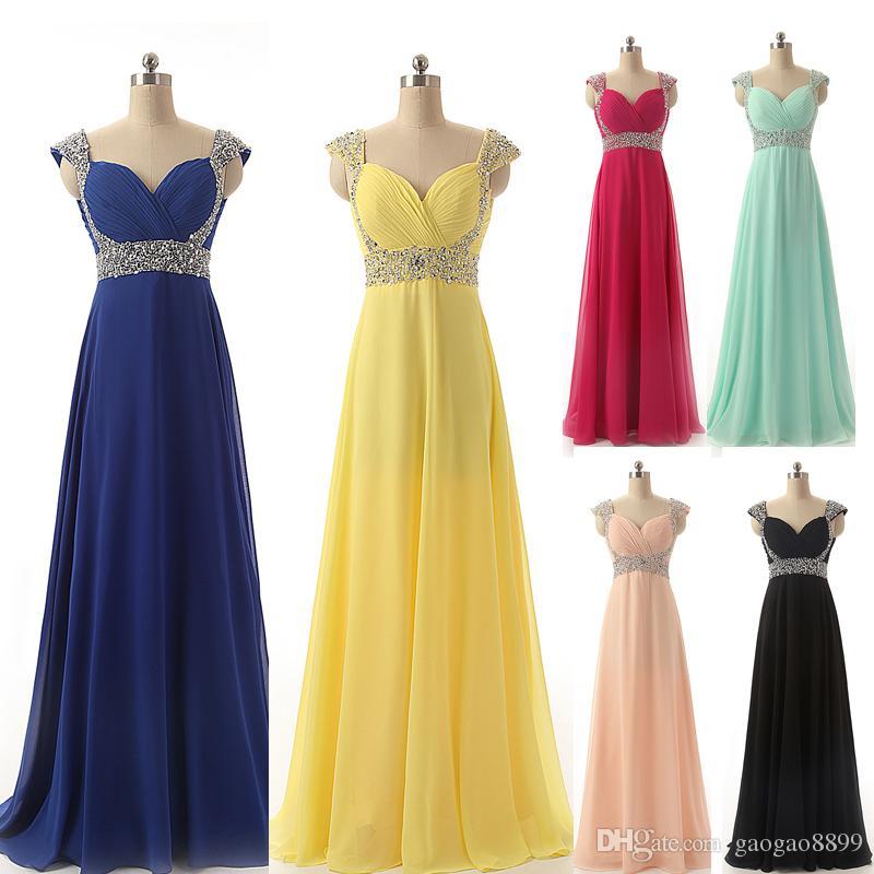 a0ef49aa79 Compre Barato Chiffon Formal Ocasión Prom Vestidos De Noche Granos Amarillo  Rojo Plata Royal Blue Mint Blush Fiesta De Dama De Honor Vestidos Larga  Imagen ...