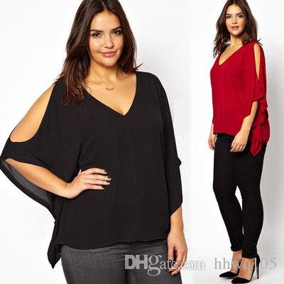 fb98eba21379cb 2019 New Women Plus Size Chiffon Blouse Top V Neck Batwing Short Sleeve  Summer Loose Shirt Sexy Cut Out Black Red Blouses MDF0266 From Hhwq105