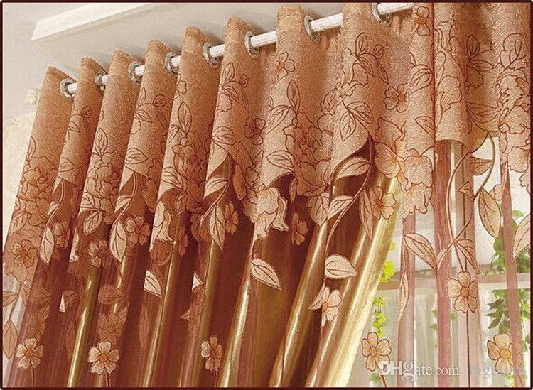 Nuove tende di arrivo di lusso in rilievo soggiorno Tulle + Blackout Curtain Window Treatment / drape In Brown / Red