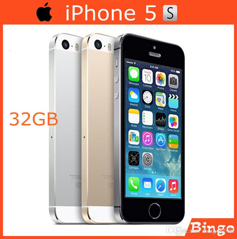 Original iPhone 5S 32Go Unlocked téléphone mobile Dual-core 4.0 pouces 1G RAM 8MP Camera WIFI GPS Cell Phone dropshipping