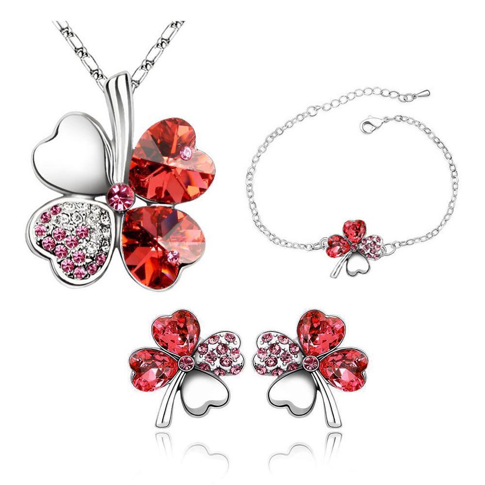 New Fashion Four Leaf Clover Pendant Necklaces Jewelry Sets Austria Zircon Crystal Necklace+Earrings+Bracelet Set Love Heart Women Jewellry