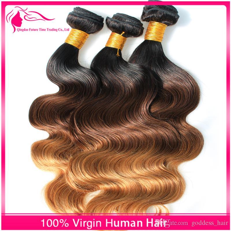 Brésilien 3 Tone 7A Ombre Cheveux Extensions 1b / 4/27 Ombre Cheveux Tisse / Blonde Corps Vague Vierge de Cheveux Humains