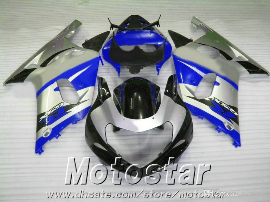 7 gifts bodykits for SUZUKI GSX-R600 GSX-R750 01 02 03 fairing kit K1 GSXR600/750 2001-2003 silver blue black fairings set XA69