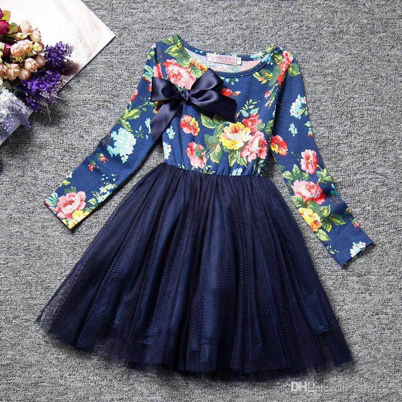 New Korea Dress Princess Pleated Dresses Girls Dot Long Sleeve Tulle Panelled Tutu Dresses Spring Autumn Bow Belted Floral Dress