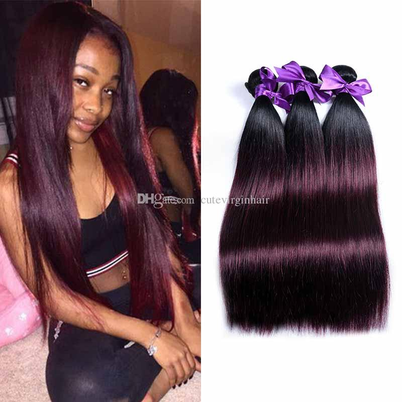 Red Ombre 3 Bundles Of Brazilian Straight Hair Extensions 1b 99j